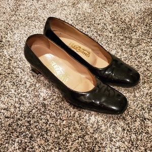 Salvatore Ferragamo Black Patent Leather Heels 7B